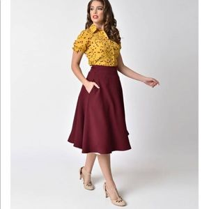 Unique Vintage Retro Style High Waist Swing Skirt