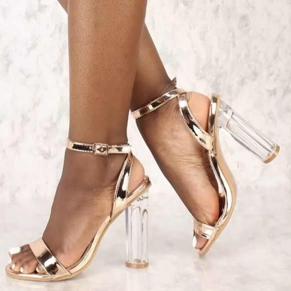 Rose gold clear heels