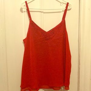 Flowing embroidered red spaghetti strap camisole