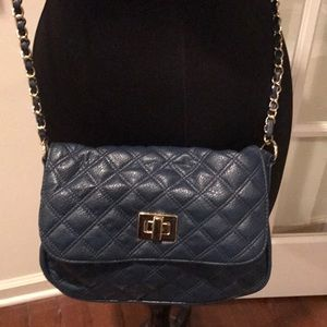 Asos blue quilted pleather cross body chain bag