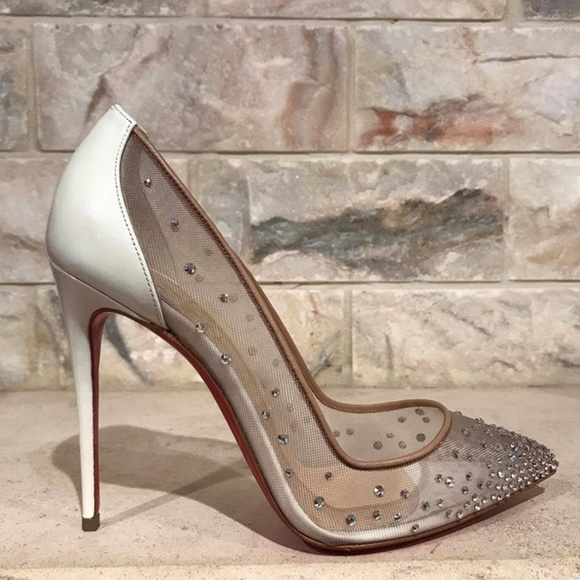 wholesale dealer 9a0ab acfd4 Christian Louboutin Follies Strass 100 White Nude Boutique