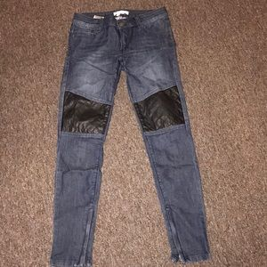 Leather patch moto jeans
