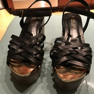 Rachel Zoe platform black scrappy wedge sandal