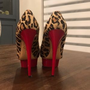 Charlotte Olympia leopard and red platform pumps