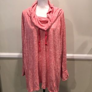 Sonoma Pink Oversized Cowl Neck Sweater 3X