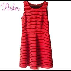 Beautiful Parked 100% Silk Red Striped Dress Sz. M