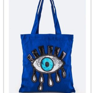 Handbags - Sequin Evil eye canvas tote