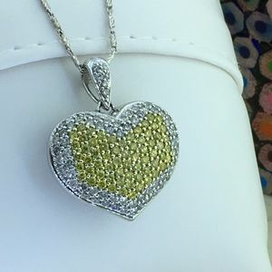 Jewelry - Diamond Puffed Heart 14k W Gold Pendant Necklace