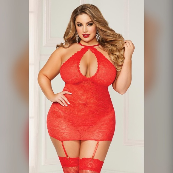d8814662145 Plus Size Sexy Red Lace Halter Chemise Lingerie