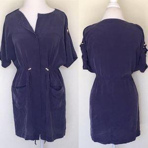 Vivienne Tam Navy Silk Drawstring Dress Pockets