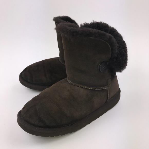 UGG Women's Chocolate Bailey Button Mini Boots 6