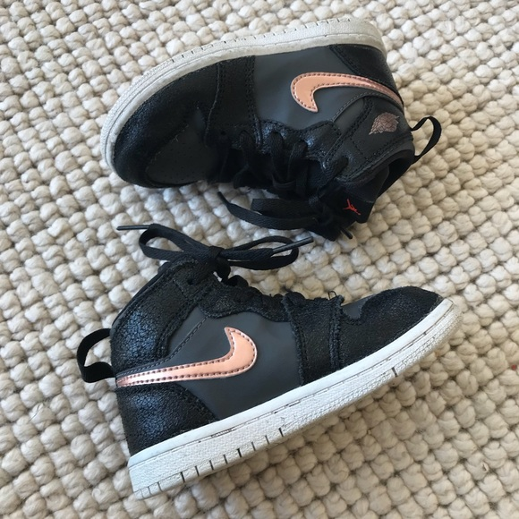 321db4634 Air Jordan Other - NIKE AIR JORDAN RETRO 1 Black Rose Gold Toddler 8