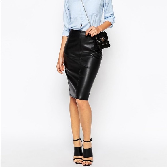 large assortment special promotion speical offer Topshop Faux Leather Pull Up Pencil Skirt SZ 8