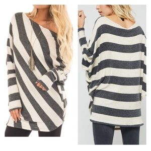 Tops - Oatmeal & Charcoal Striped Off Shoulder Dolman Top