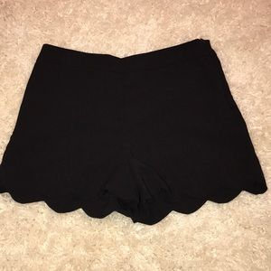 Scalloped Black Boutique Shorts