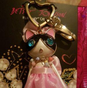 Betsey Johnson Princess Kitty keychain