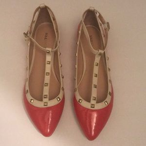 Sole Society Red/ Nude Studded Flats Size:9