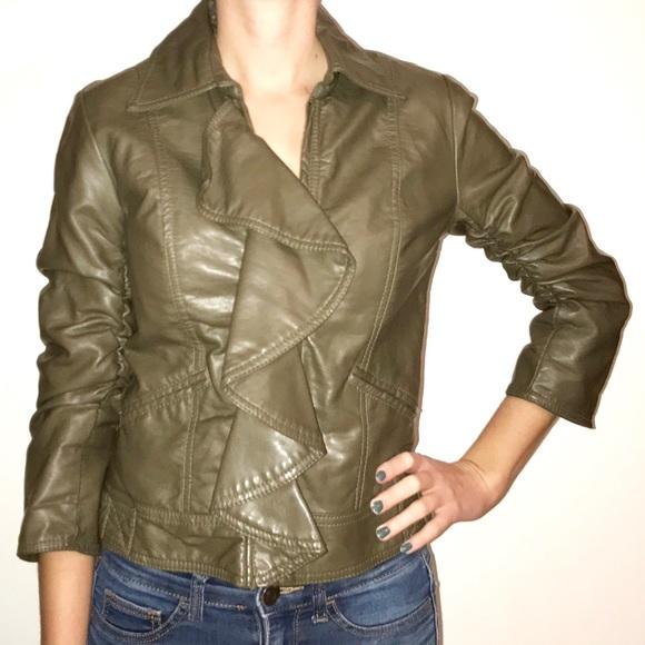 0ffa5849da7 Jolt Jackets   Blazers - Jolt Faux Leather Ruffle Jacket