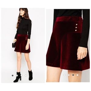 ASOS Cord A-Line Skirt With Curved Button Wrap