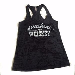 Size M Burnout Gray Sunshine And Whiskey Top
