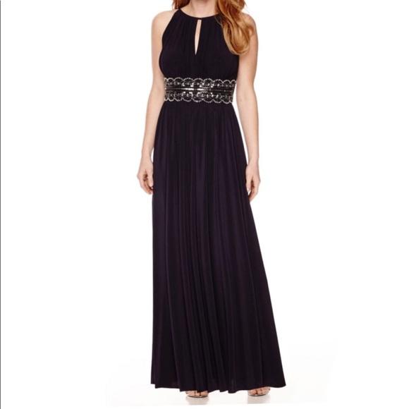 R & M Richards Dresses | Rm Richards Sleeveless Beaded Halter Gown ...