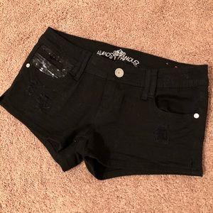 Black Sequin Jean Shorts