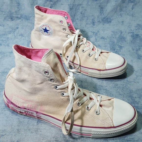 88cf566b4bbd34 Converse Other - Converse Off White Pink Stencil Chucks 13 RARE Tan