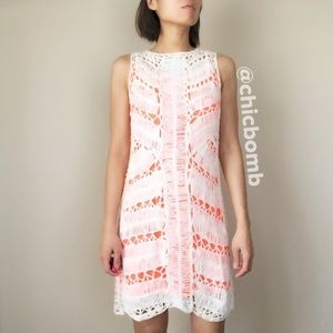 Statement net knitted shell dress with slip on