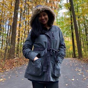 ✂️PRICE CUT EDDIE BAUER Gray Belted Faux Fur Coat