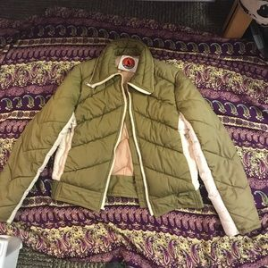 Vintage Retro Olive Green White Stag Puffy Coat70s