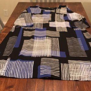 3/4 sleeve geometric A line dress