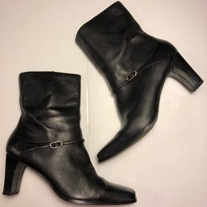Black Leather Booties Ankle Boots Laura Scott 10