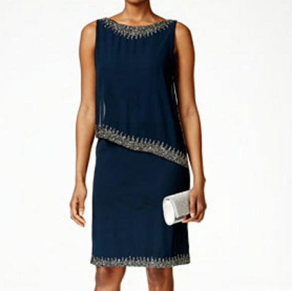 J Kara Dresses Beaded Capelet Blue Plus Size Dress Poshmark