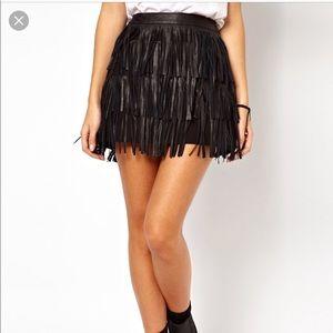 Leather fringe mini skirt