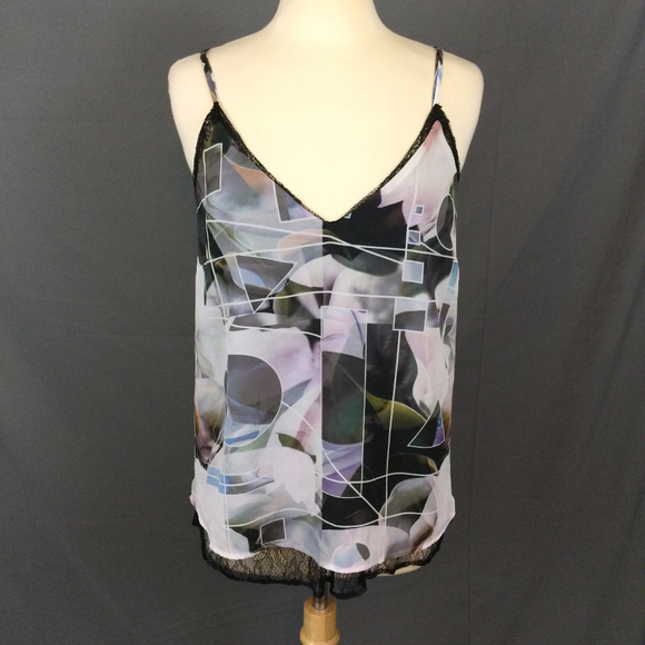 3442fcfbb8b926 Black Geometric Print Tank Top Lace Trim Layered