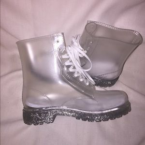 F21 Clear Jelly Rain Boots Silver Sparkly Soles M