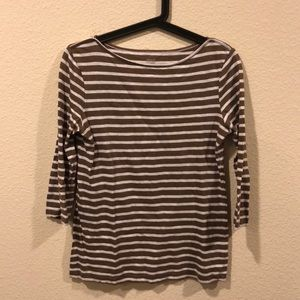 shade Tops - Brown and white striped boat neck top 3/4 sleeve
