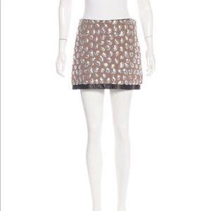 Unique DVF sequin skirt w/ leather detail