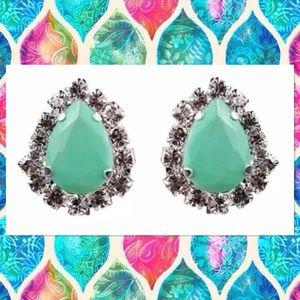 Jewelmint Mint Crystal Teardrop Studs Earrings