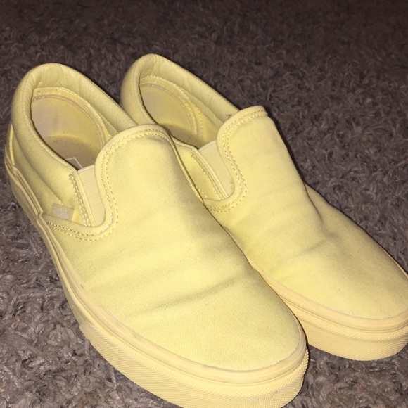 vans yellow slip ons