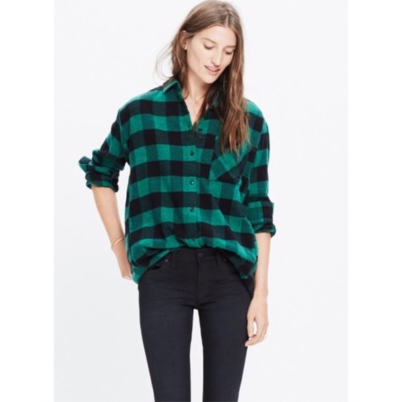 Madewell Tops - Madewell green buffalo plaid flannel shirt 220fdd87f7f