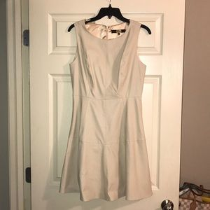 Cream Leather Fit & Flair dress