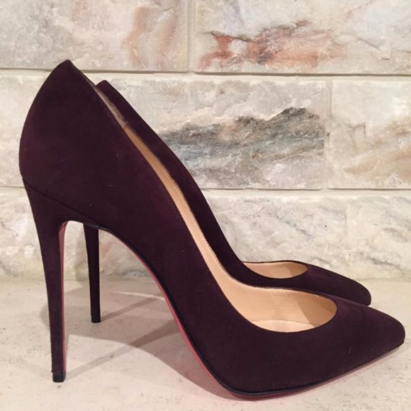 new products b3f99 14983 Christian Louboutin Pigalle Follies 100 Wine Suede Boutique