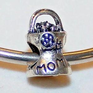 Mom flower pot European Charm fit pandora bracelet