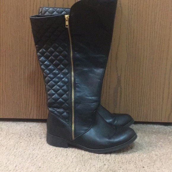 Black Quilted Riding Boots Wide Width