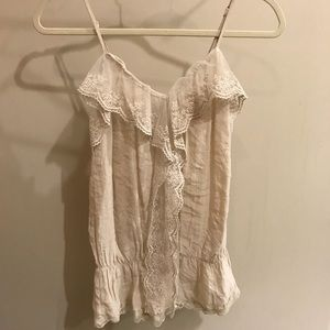 Tops - Ruffled Lace Waisted Camisole