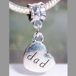 Jewelry - Dad heart dangle charm fit pandora bracelet