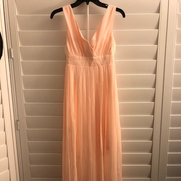 Nwt Peach Chiffon Bcbg Deep V Wopen Back Gown | Poshmark