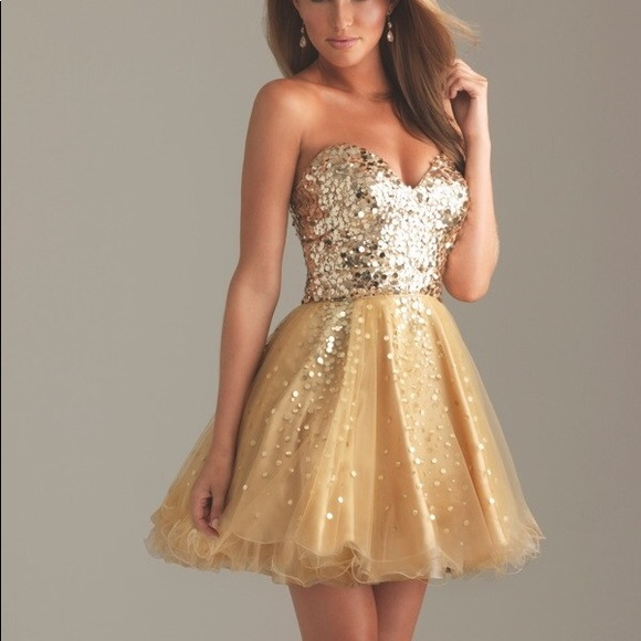 Sherri Hill Dresses | Short Gold Prom Dress