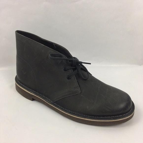 240615f9c76 Clarks Men Bushacre-2 Grey-Leathr Chukka-Boot Shoe NWT
